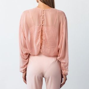 Hot As Hell Tops - SOLD::::: HAH Pink Chiffon Bodysuit